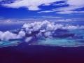 French Polynesia: Airshot from Bora Bora Island, the laggon an coral reefs