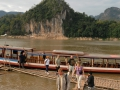 Laos: View to Pak Ou Cave with thousands of Buddhas to the Mekong River. Die Sicht auf die Pak Ou Höhlen mit den tausend Buddhas auf den Mekong River