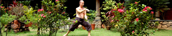 Headerbild Gesundheitstourismus: Tai-Chi im Somaatheram Ayurveda Resort in Kerala Indien. Health tourism: A man practising Tai-CHi in the ayurvedic health resort Somaatheram in Kerala, India.