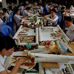 Vietnam: private people initiative for war Handicaped people. They are working near Halong Bay, producing tourist souveniers