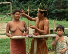 Yagua-Indio's am Amazonas im Dreiländereck, Kolumbien, Brasilien, Peru, Amazonas-River, indigenous people,