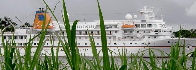 Headerbild Die MS Bremen ist hinter dem Amazonas-Schilf in Sicht. © GMC Photopress, Gerd Müller, gmc1@gmx.ch