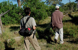 Der Zürcher Fotojournalist Gerd Müller bei seiner Lieblingsbeschäftigung: Bushwalk mit dem Bushmen in der Central-Kalahari. The Swiss Photojournalist Gerd Müller with a bushmen walking through the central Kalahari