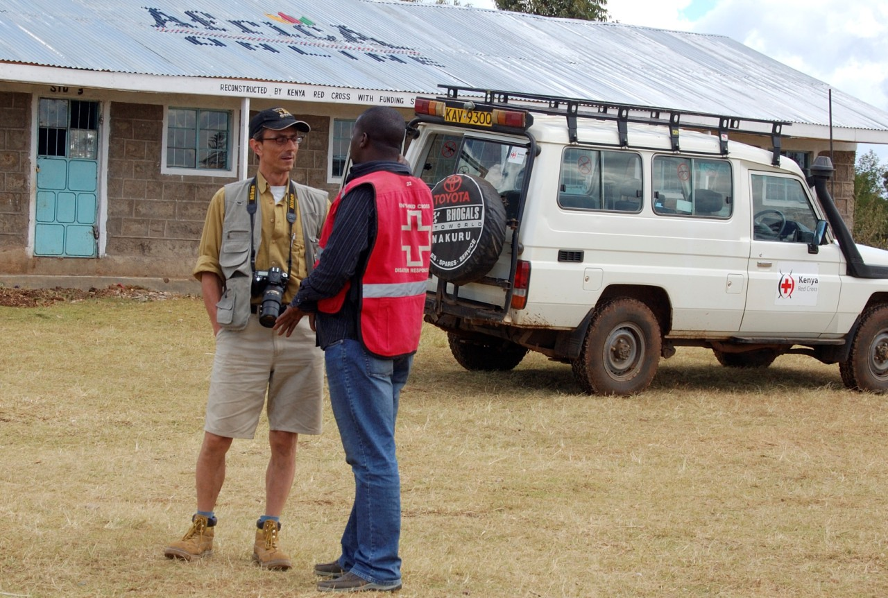 Swiss Photojournalist Gerd Müller visiting the refugie camps with the Red Cross Kenya Mission in Eldoret