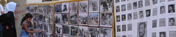Schatila Flüchtlingszentrum in Beirut: Ausstellung mit Bildern von dem Tel Al Zatar Massaker. Schatila Refugie Camp: Photo exposition from the Tel Al Zatar Massacre