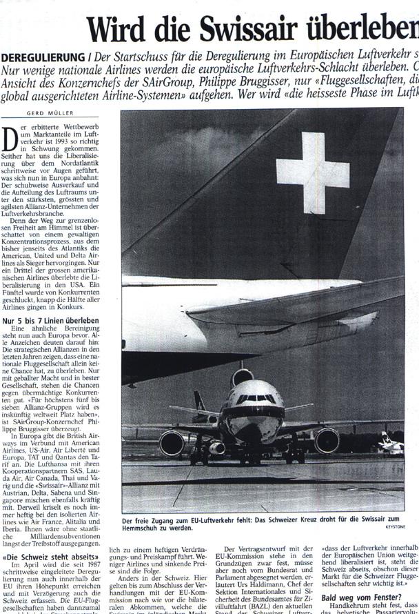 Wird die Swissair überleben. BAnalyse von Gerd Müller im Der Bund