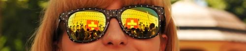Patrioten-Sonnenbrille an der 1. August Feier
