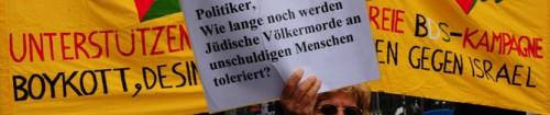 Headerbild: «Wie lange dulden hiesige Politiker noch jüdische Völkermorde an unschuldigen Menschen», fragt diese 1. Mai Kundgebungsteilnehmerin in Zürich