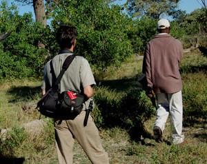 Der Zürcher Fotojournalist Gerd Müller mit Bushmännern in der Kalahari zu Fuss unterwegs in der Wildnis und Tierwelt von Botswana.