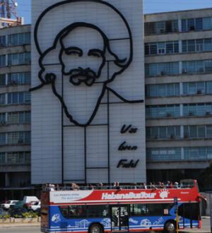 Kuba: Havanna's Nationalheld auf dem Plaza de Revolucion. Cubas national hero at the Plaza de Revolucion in Havanna