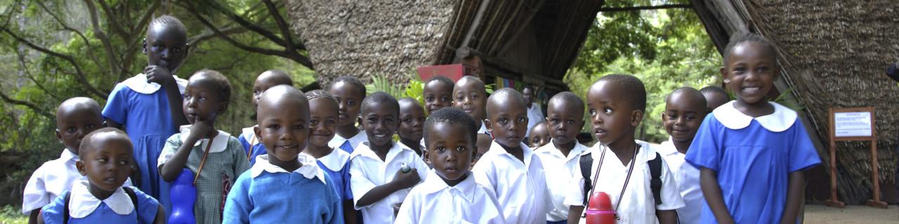 Kenyanische Schulkinder besuchen den Haller Park: Die ehemaligen Kalk-Steinbrüche wurden von einem Schweizer renaturiert und in einen Tierpark umgewandelt. Kenyan school-children visiting Haller Park in Mombasa, where a swiss from Lenzburg renaturated